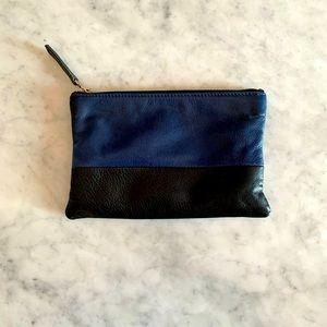 VELVET Two Tone Leather zippered clutch handbag